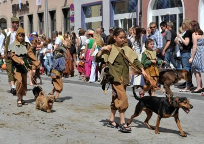 Historischer Festzug am Sonntag: Falkenjagdgruppe und Hunde